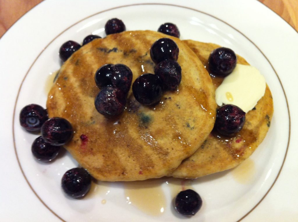 whole grain pancakes with blueberries